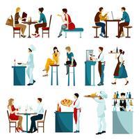 Restaurant bezoekers plat pictogrammen instellen vector