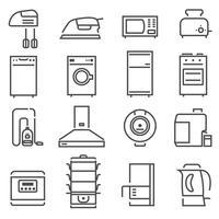Huishoudapparaten Zwart Wit Icons Set vector