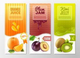 Fruit 3 advertentie Verticale banners instellen vector