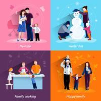 Ouderschap 4 vlakke pictogrammen vierkante reeks