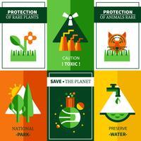 Zes vlakke Ecologie Posters Set vector
