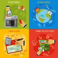 Betalingsmethoden 4 vlakke pictogrammen vierkant