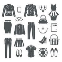 Moderne vrouw kleding zwarte pictogrammen