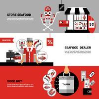 Verkoop van zeevruchten horizontale banners vector