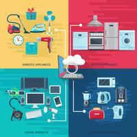 Huishoudelijke pictogrammen samenstelling vierkante concept