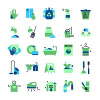 Schoonmaak Flat Color Icons Set vector