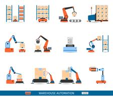 Warehouse Robots Icons Set vector