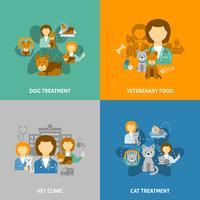 Veterinaire kliniek 4 plat pictogrammenvierkant