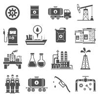 Olie zwart witte pictogrammen instellen