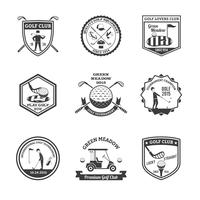 Golf Zwart Wit Emblemen Set vector