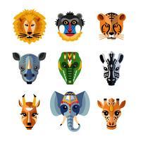 Afrikaanse dieren hoofden maskers plat pictogrammen