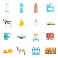 Melk zuivelproducten vlakke pictogrammen instellen