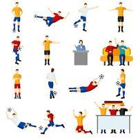 Soccer game mensen plat pictogrammen instellen vector