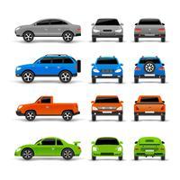 Auto's zij-voor- en achterkant Icons Set vector