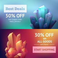 kristal minerale banners vector