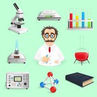 wetenschap pictogrammen realistisch vector