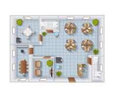 Kantoor interieur bovenaanzicht vector