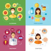 Verschillende allergietypen Symptomen vector