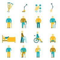 Mensen met een handicap Icons Set vector