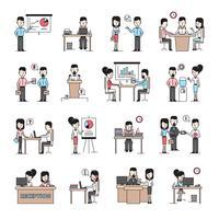 Mensen uit het bedrijfsleven werkplek pictogrammen instellen