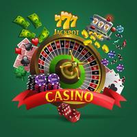 Casino Poster op groene achtergrond vector