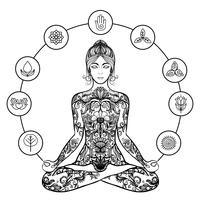 Decoratief lotus yoga vrouw zwart pictogram vector