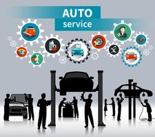 Auto Service Concept Achtergrond vector