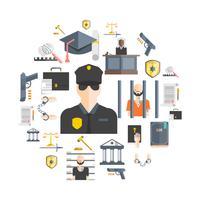 Justitie en straf Concept vector