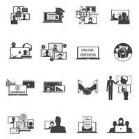 Webconferentie webinar zwarte pictogrammen instellen vector