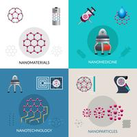 Nanotechnologie 4 vlakke pictogrammen vierkante banner