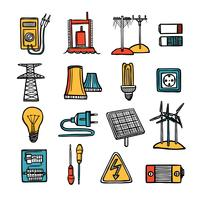 Kracht en energie Icon Set vector