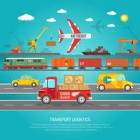 Logistiek transportdetails platte posterafdruk