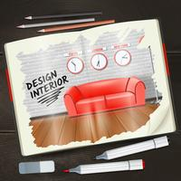Interieur Sketchbook Illustratie vector