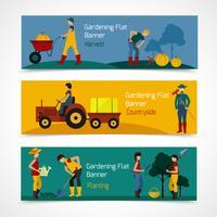 Tuinieren mensen platte banners vector