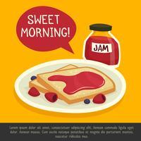 Ontbijt Design Concept met zoete ochtend Opmerking