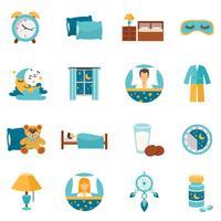 Platte pictogrammen Slaaptijd vector