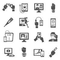 Digitale gezondheid Icons Set vector