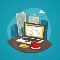 Zakelijke werkplek ontwerp Concept Set