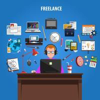 Freelance de afficheaffiche van conceptenpictogrammen