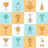 awards lijn pictogrammen instellen vector