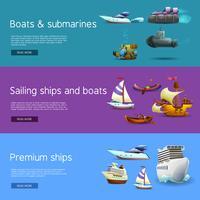 Schepen en boten Banners Set vector