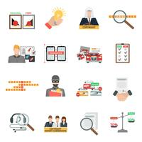 Naleving auteursrechtwet vlakke pictogrammen instellen vector