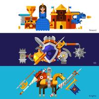 Horizontale Knight Banners Set vector
