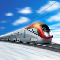 Moderne trein in beweging