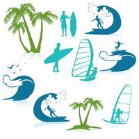 Surfen pictogrammen met mensen vector