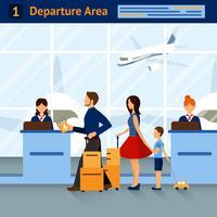 Scène In het vertrekgebied van de luchthaven vector