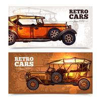 Retro auto's Banner Set vector