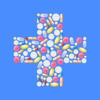 Pillen in kruisvorm vector