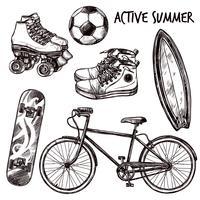 actieve recreatie schets set vector