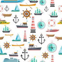 Nautische symbolen vintage naadloze patroon